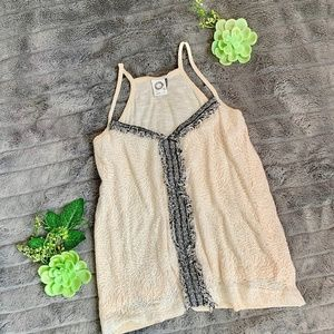 Akemi + Kim lace and tweed detail tank.
